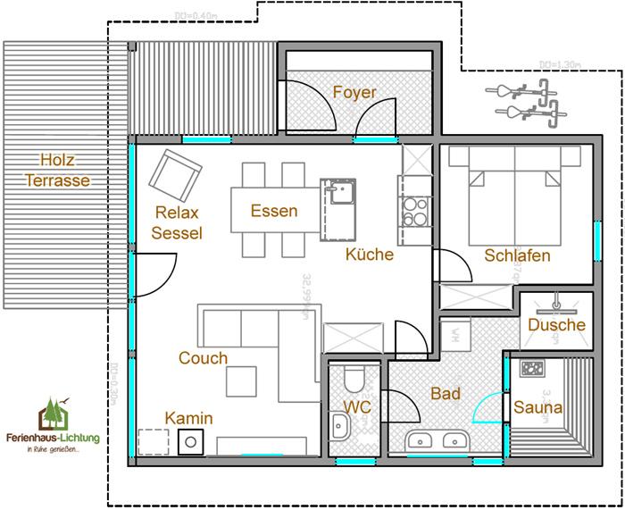 2 personen sauna ferienhaus lichtung. Black Bedroom Furniture Sets. Home Design Ideas